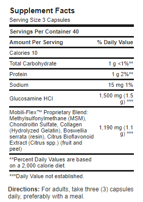 tabla glucosamina puritans x 120