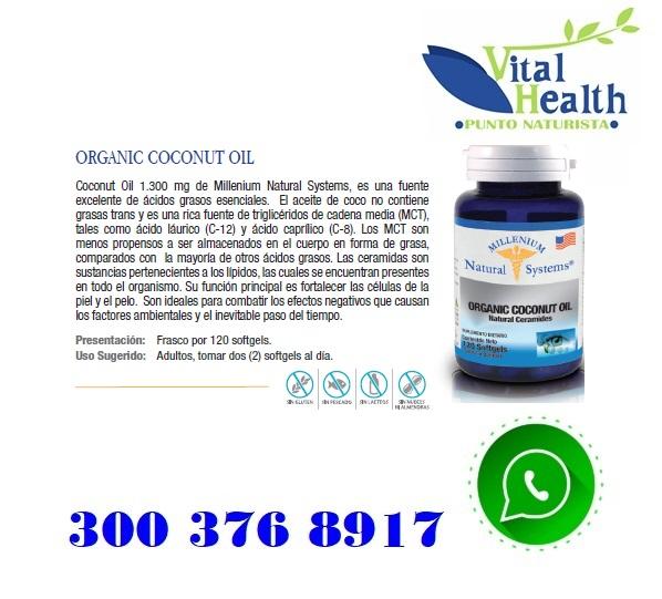 Aceite Organico De Coco Americano Por 120 Capsulas Blandas