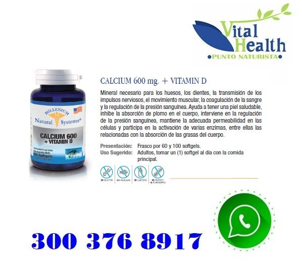 Calcio 600 Mg + Vitamina D X 100 Capsulas Blandas