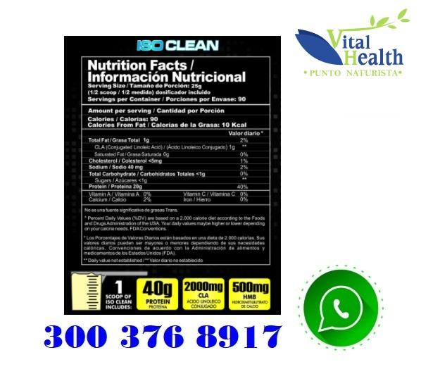 Iso Clean Proteína Isolatada 100% Whey Proteína Limpia inf